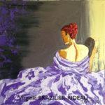 Femme à la Robe Violette-30x30cm-Vendue