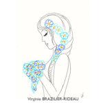 Jeune Femme aux Fleurs Bleues-Format A4-Vendue
