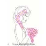 Jeune Femme aux Fleurs Roses-Format A4-Vendue