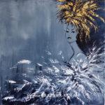 Reine Or & Blanc sur Fond Gris-40x40cm